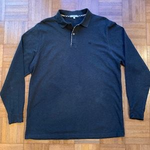 Burberry London Gray Long Sleeve Polo Shirt Size L